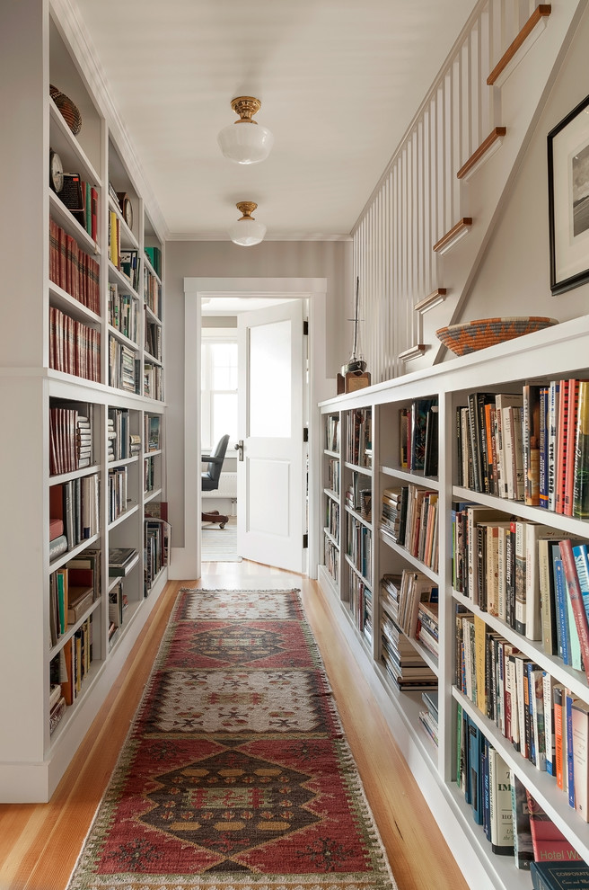 Furnishing ideas for hallway both walls in a long hallway could be used as a home library WJOXCHJ