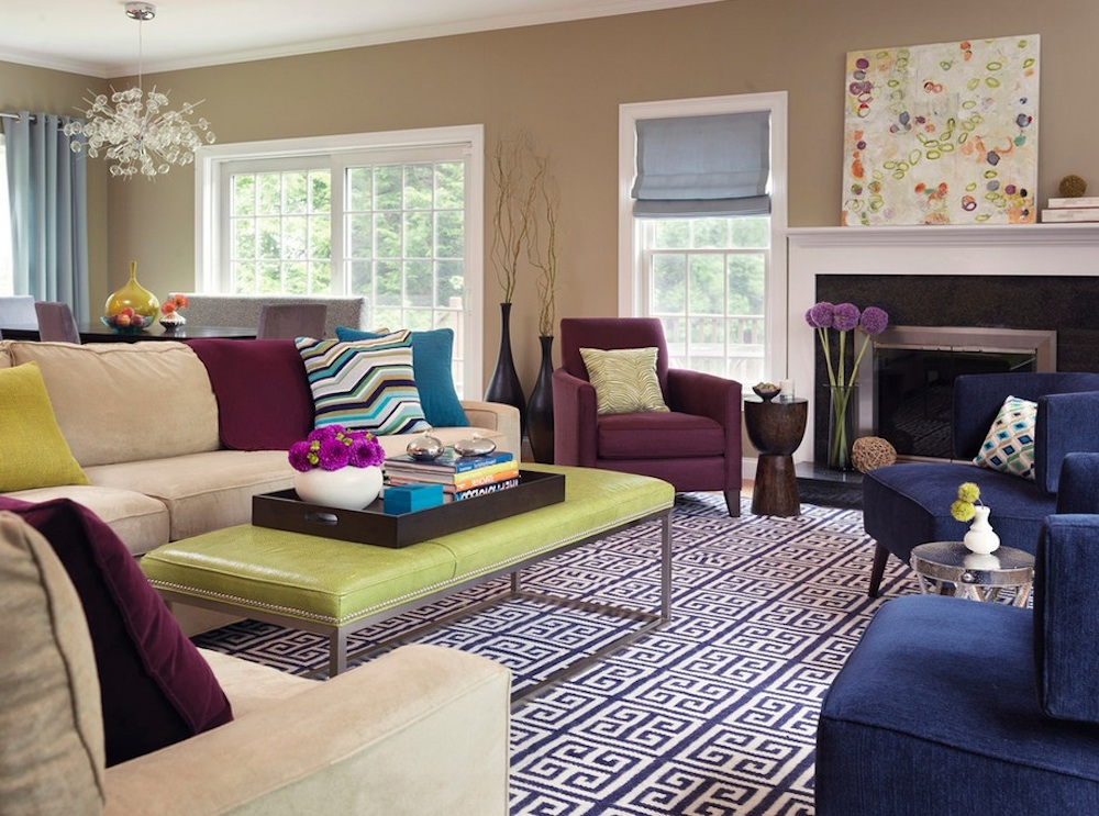 Interior design with colors mix patterns and solids to add visual interest. image via: rachel reider  interiors GOVLDHO