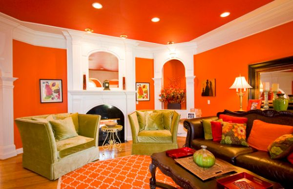 Interior design with colors orange and white. IICVLWM