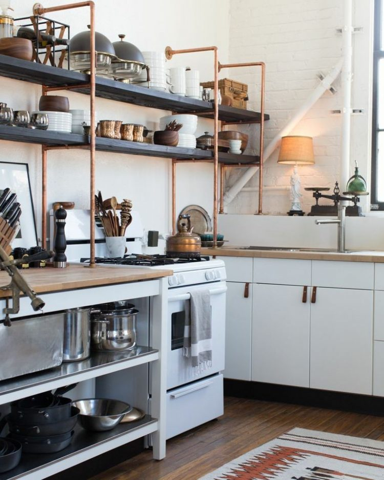 Kitchen shelf ideas copper and wood open shelves are great additions to standard ikea kitchen  cabinets XYGEYCB