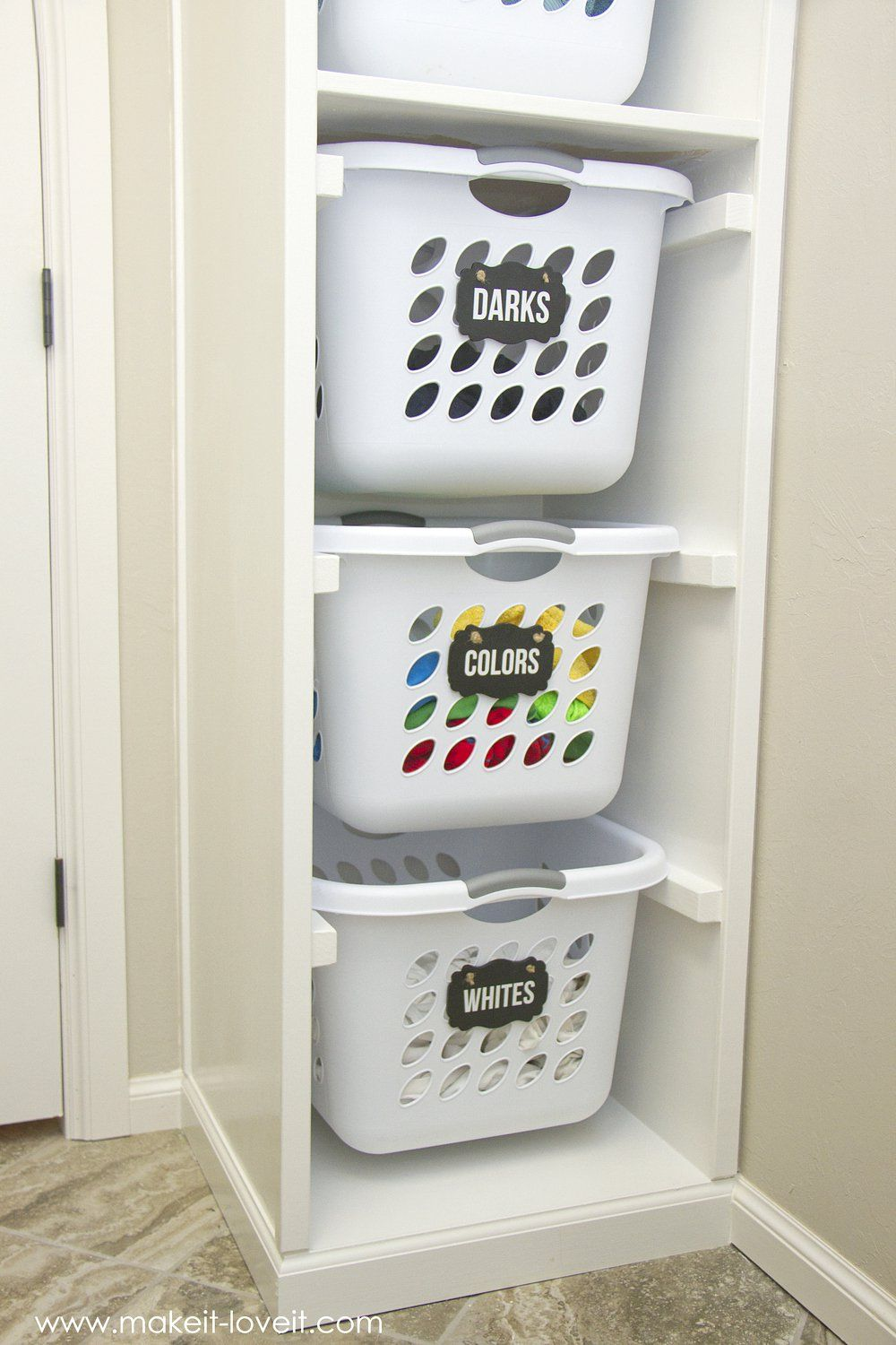 Laundry Basket Ideas diy laundry basket organizer (...built in) | make it and love it AHNNKVQ