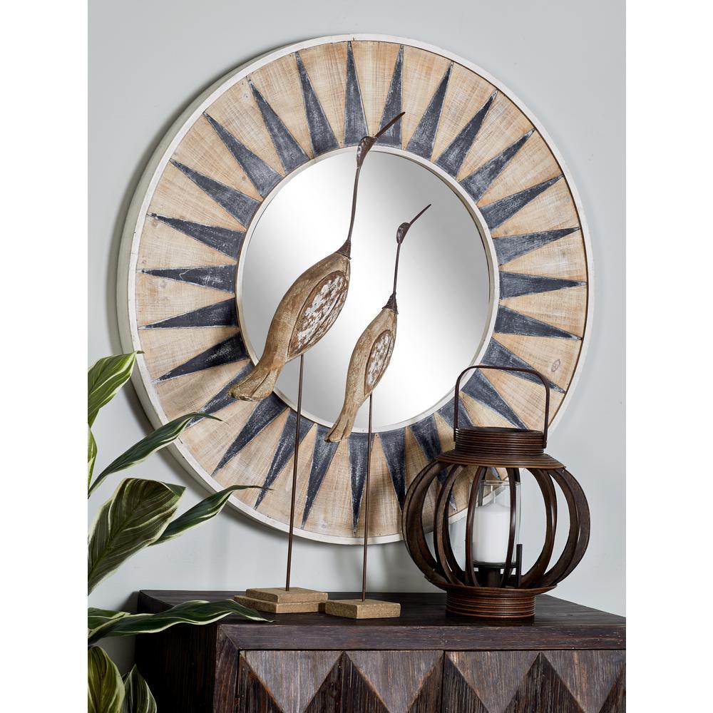 litton lane sun-inspired round white accent decorative mirror NYOERFD