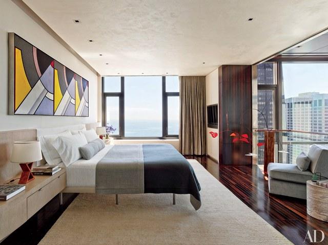 Modern bedrooms chicago bedroom with roy lichtenstein triptych GKJPUON