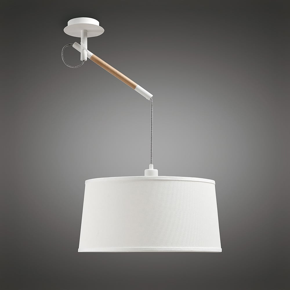 Nordika lamp nordica single light ceiling pendant in white and wood finish GOEPDUT