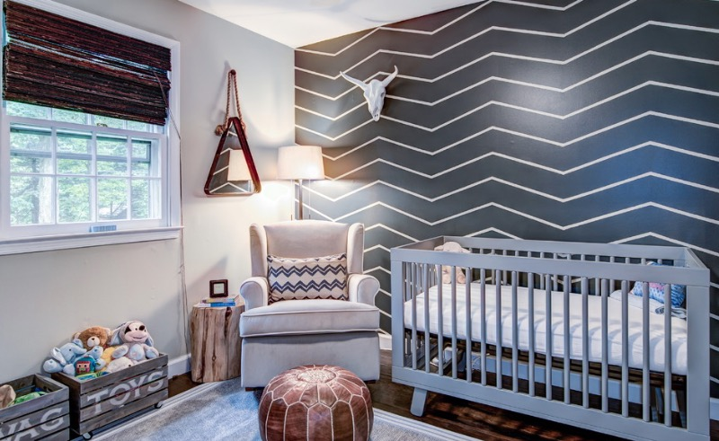nursery room decoration ideas bold, graphic wall IYFUWAQ