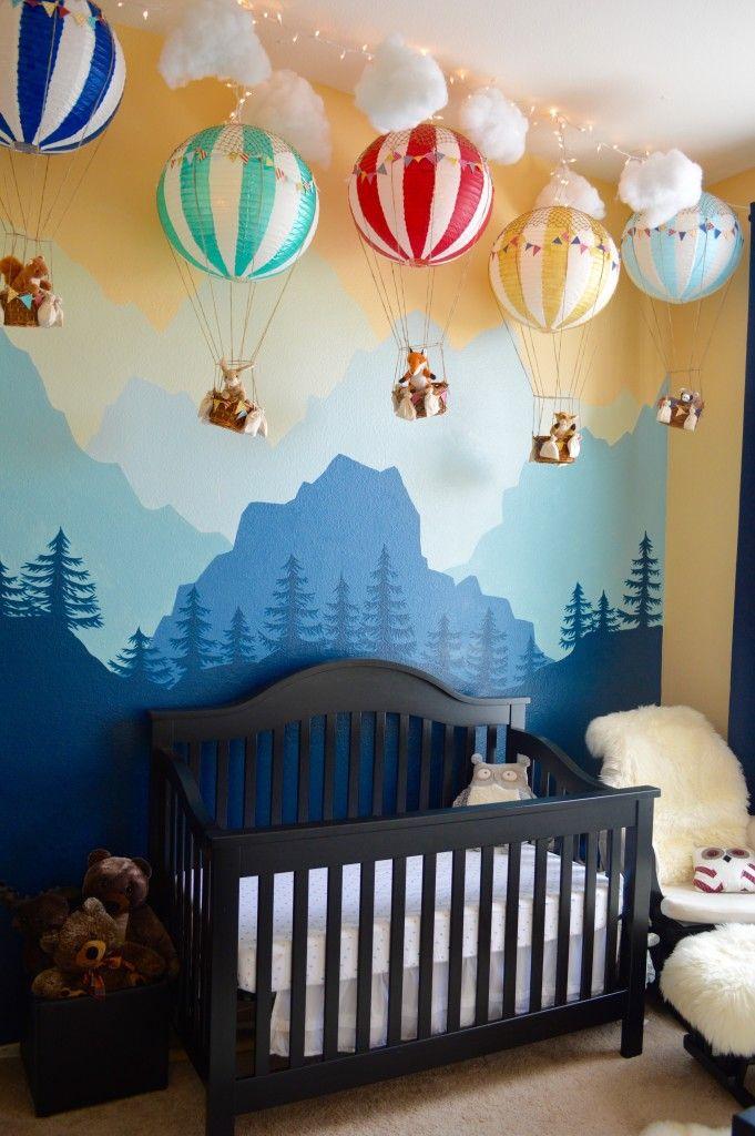 nursery room decoration ideas whimsical woodland nursery - love this gorgeous mural + hot air balloon  decor! GOPAOPX