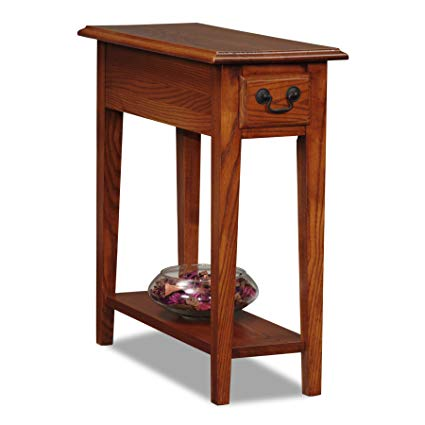 Oak wood furniture leick chair side end table, medium oak finish RREEGWV