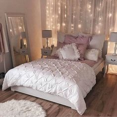 Simple Bedroom Ideas romantic bedroom inspiration | sophisticated white and pink bedroom |  string light backdrop LCQDAQE