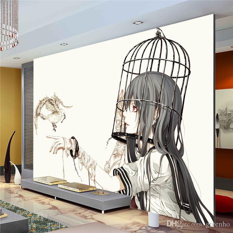 wall murals modern cartoon wall mural pigeon u0026 girl photo wallpaper modern minimalist anime  wallpaper art YONUOJX