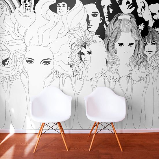 wall murals modern drawings u0026 illustrations QJJETFP