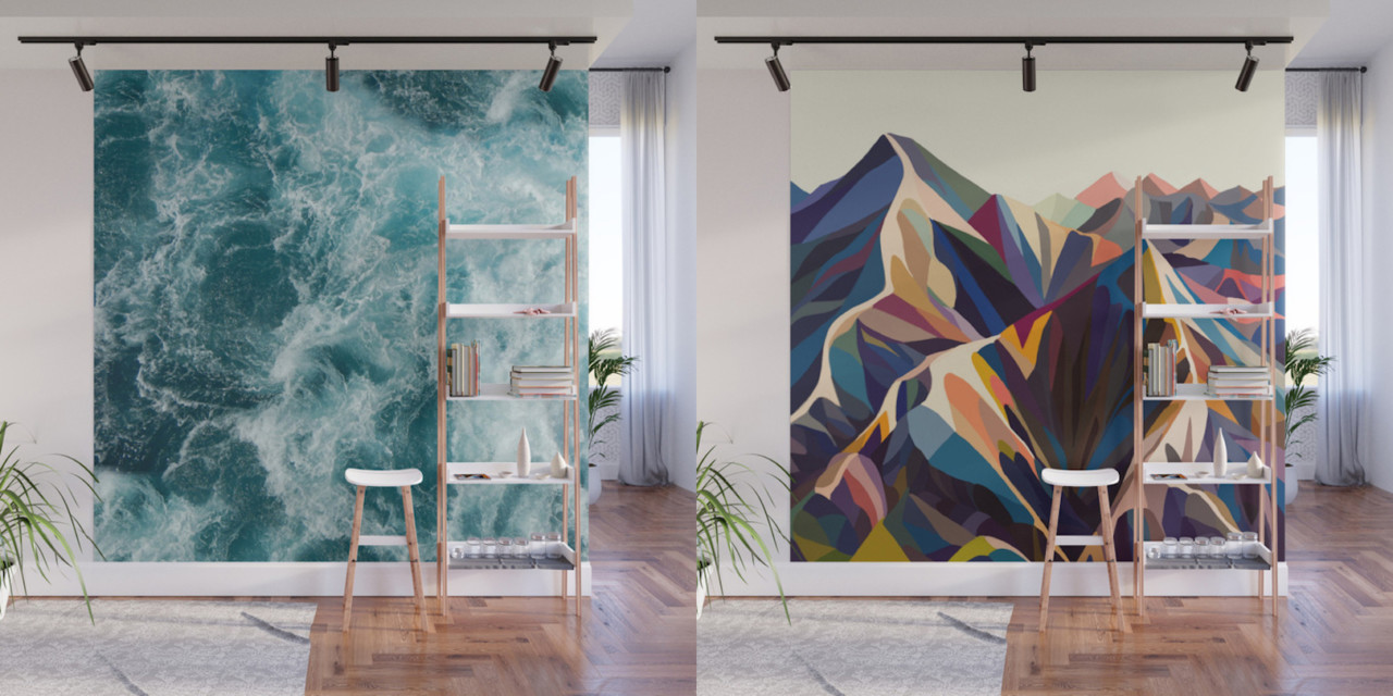 wall murals modern give your home a bold accent wall with society6u0027s new peel + stick wall CXGUCJQ