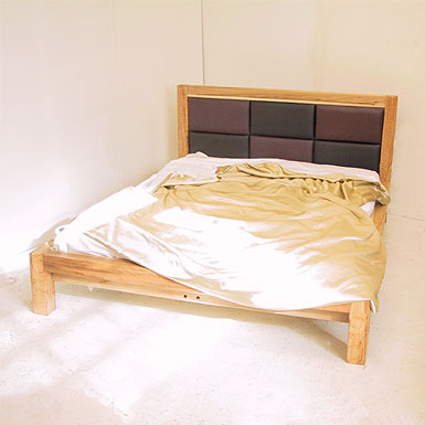 Bedroom made of beech bed frame 150. solid timber frame with leather upholstery the wooden  bedstead RSVCFXP