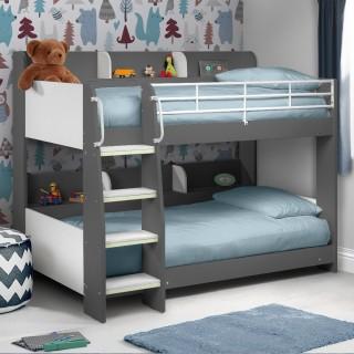 Beds for boys domino grey wooden and metal kids storage bunk bed VJTNBTD