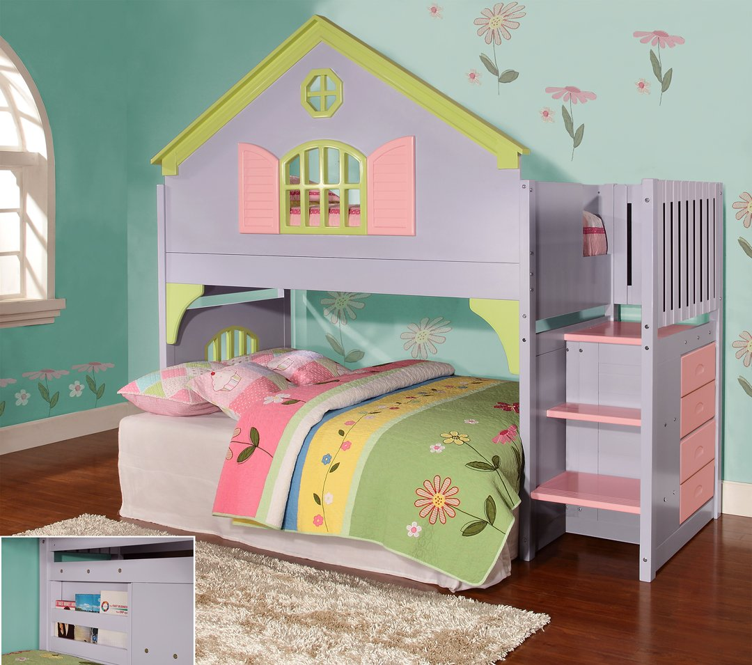 Beds for girls twin doll house stair step loft UFWHYXK