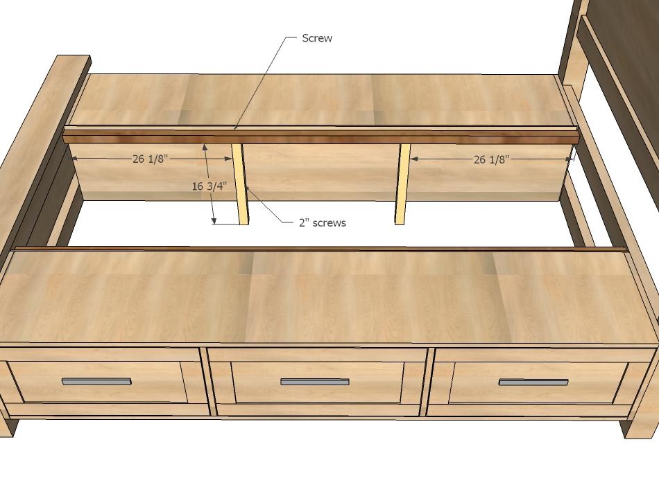 beds with under drawer storage ana white | farmhouse storage bed with storage drawers - diy projects UNTZQMN