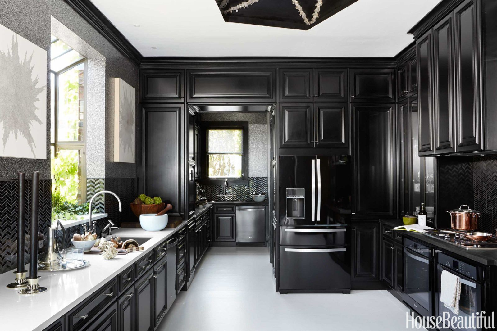 Black Kitchens 11 black kitchens - black cabinet and backsplash ideas HROJWNV