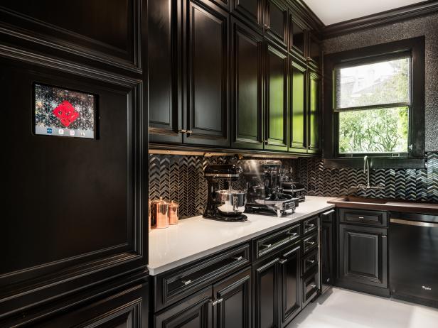 Black Kitchens contemporary black kitchen with chevron backsplash ZZFXCJW