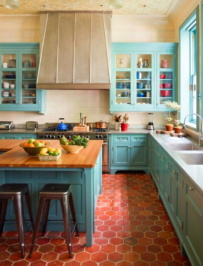 colorful kitchen turquoise is a #homegoodshappy hue! love this kitchen designed by sawyer | KNMAKRZ