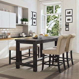 dining table for kitchen furniture of america telara contemporary antique black counter height dining  table PFOTRIH