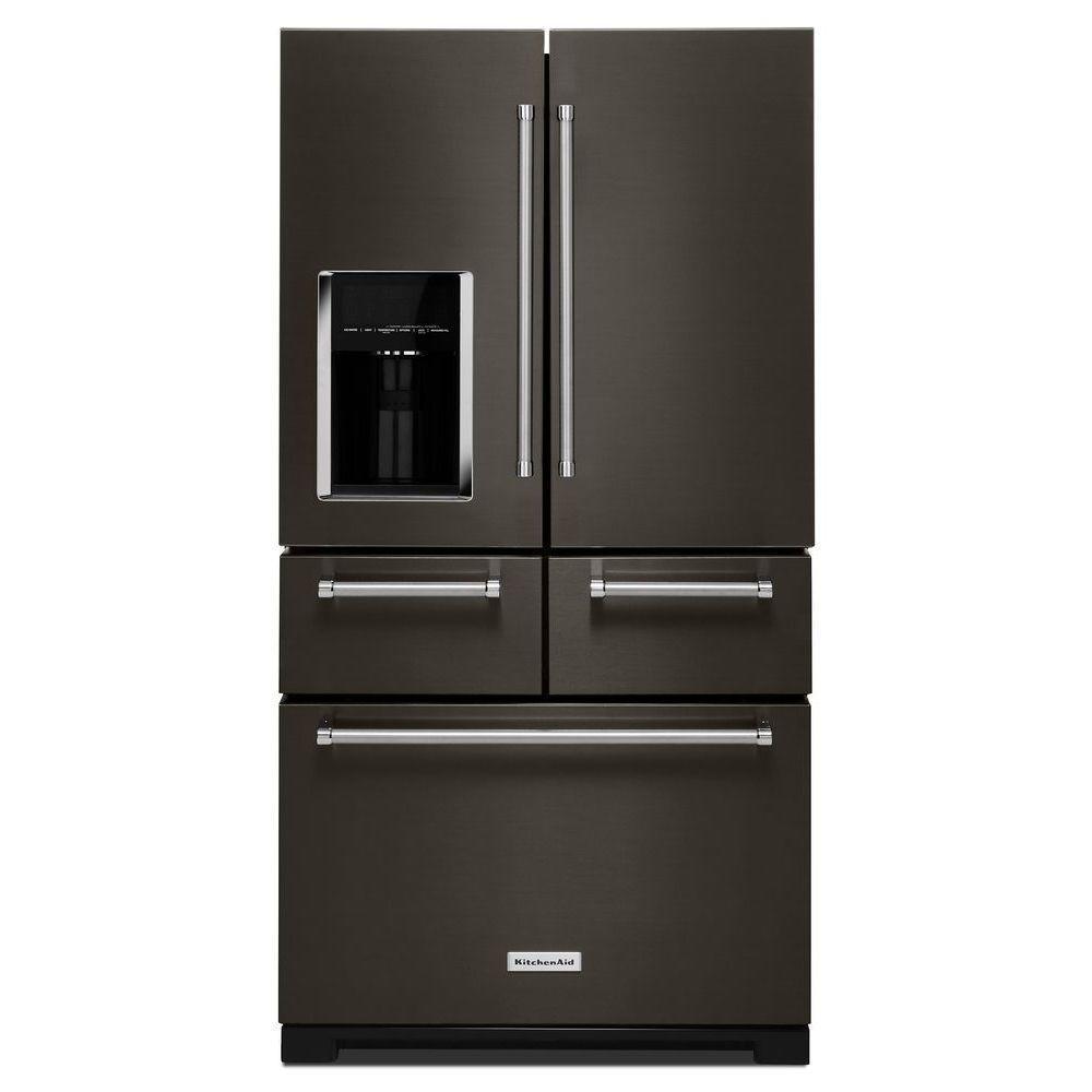 Freestanding refrigerator french door refrigerator in black stainless with platinum interior XCMGVIW