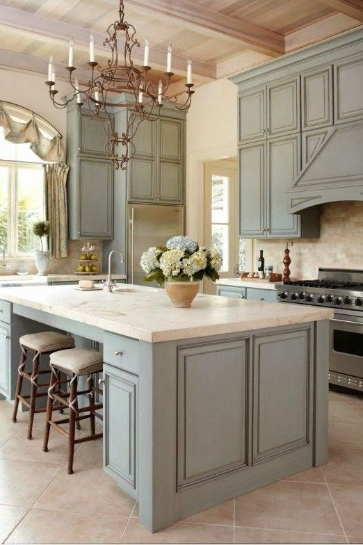 French country kitchens ok, i found my dream kitchen.. i love the gray cabinets, the wood PPBDMIY