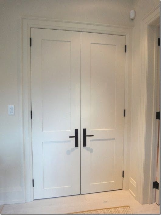 Hinged-door wardrobes pine painted white black hinge and handle. shaker door more JCHYSBY