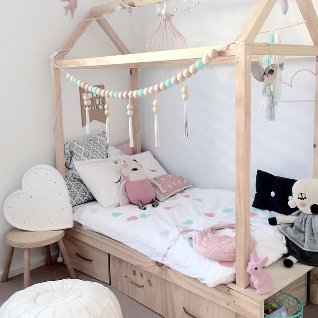 house beds cute little girls room -- kids house bed with storage drawers underneath LVMDGVR
