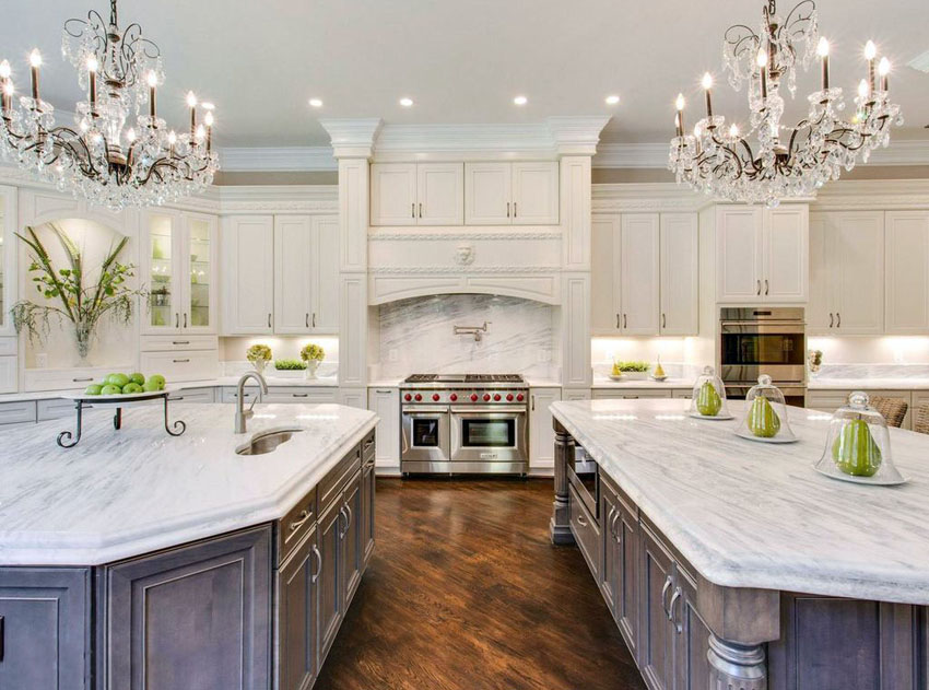 kitchen ideas with marble countertops beautiful kitchen with white cabinets two islands two chandeliers and  carrara marble RIYCMHZ