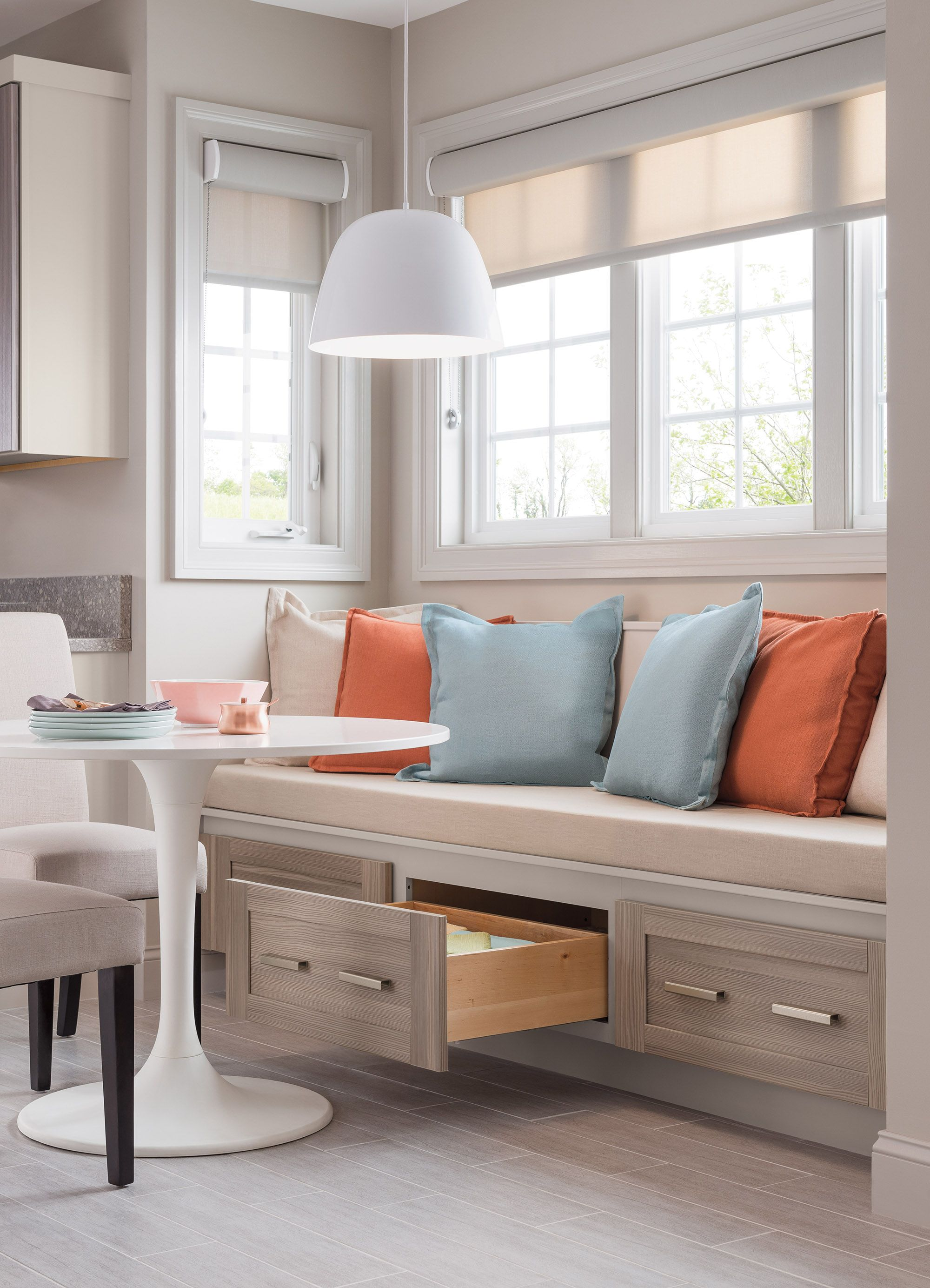 kitchen with bench seating double up with storage and seating! KJXZXYZ