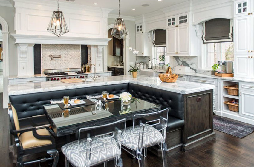 kitchen with bench seating luxury marble kitchen with l shaped island with built in leather bench EMYSHWU
