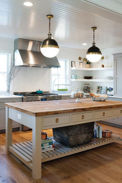 Kitchen with freestanding kitchen block gray freestanding kitchen island with shelf and wood countertop JQZWJMN