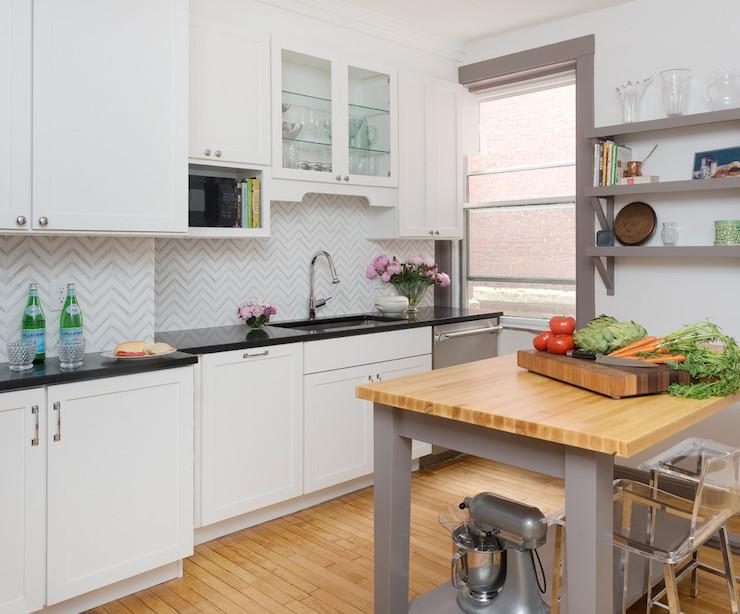 Kitchen with freestanding kitchen block gray kitchen island with butcher block top AJSCNXR