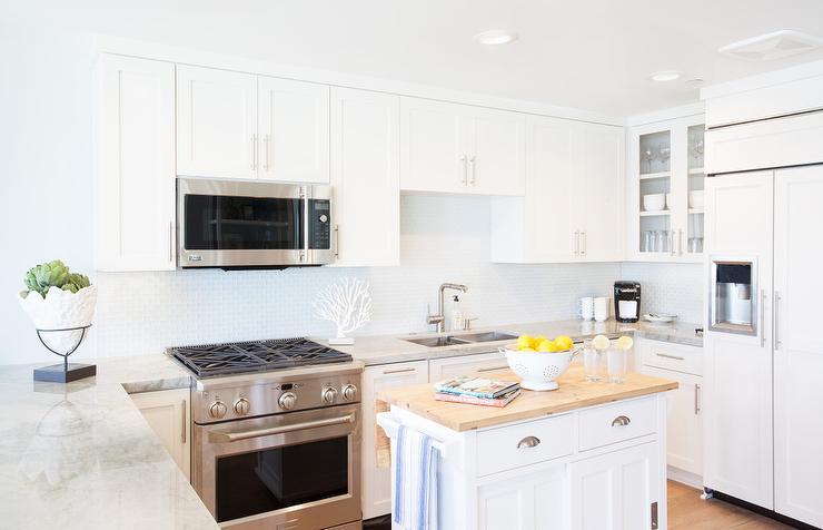 Kitchen with freestanding kitchen block u shaped kitchen with freestanding butcher block top island WKRWWHX
