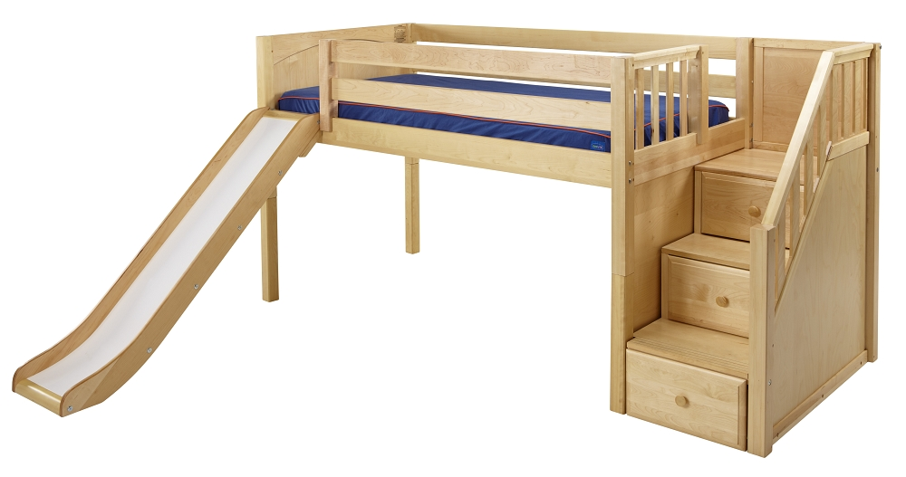 Loft beds with slide and ladder maxtrix low loft bed w/staircase on end u0026 slide OCXDQYO