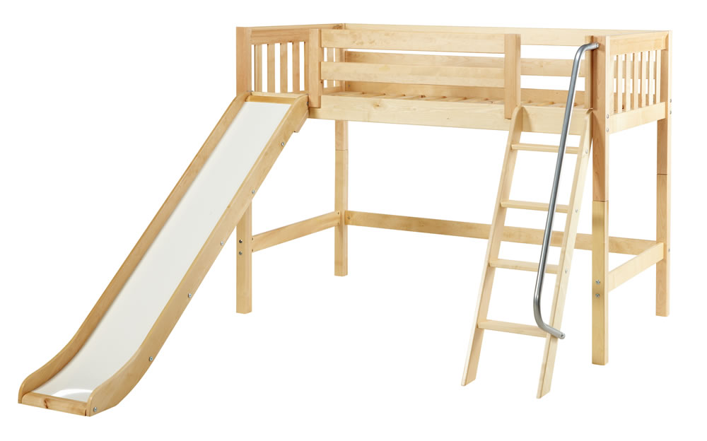 Loft beds with slide and ladder maxtrix mid height loft bed w/ angled ladder and slide (full size) TYOPEVM