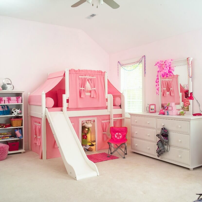 Experience adventure and fun in the nursery: Loft beds with slide and ladder