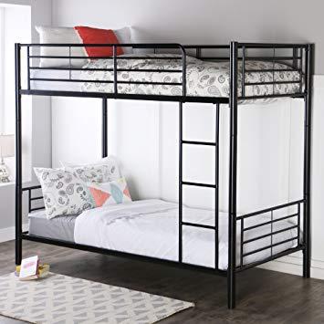 Metal beds in excess length walker edison twin-over-twin metal bunk bed, black BSMLITK