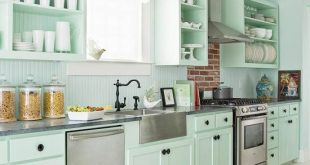 Mint Green kitchen for a fun cottage-style kitchen, try seafoam-green cabinets! more green BMJNINH