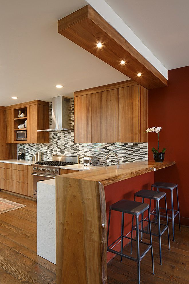 modern kitchen with bar counter live edge counter bar kitchen contemporary with wood countertops waterfall  counters wood DRGMUZO
