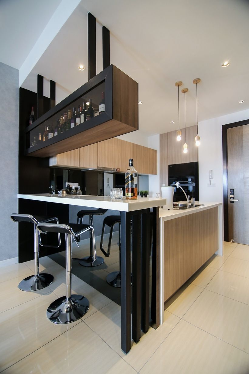 modern kitchen with bar counter modern kitchen design with integrated bar counter for a small condo home HXKBKGO