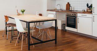 Modern kitchen with wooden floor kitchen flooring options | best flooring for kitchens EWFTGEJ