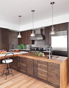 modern wood kitchens a dark and handsome kitchen JQMWIXH
