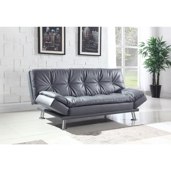 Retro style Sofa beds leather, retro style adjustable sofa bed, gray LOPZUHO