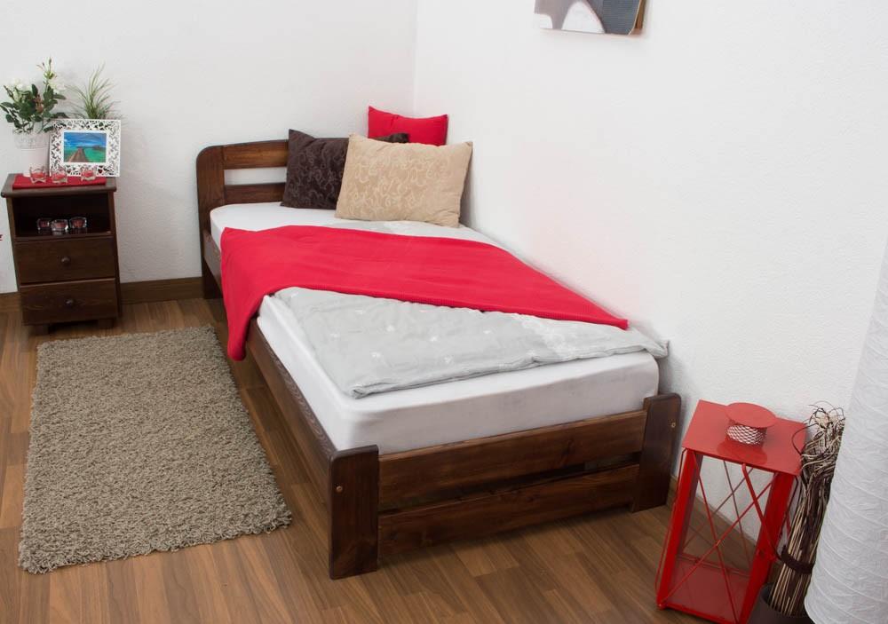 Slatted frames 90×200 single bed a7, solid pine wood, nut finish, incl. slatted frame - 90 WDNBJNN
