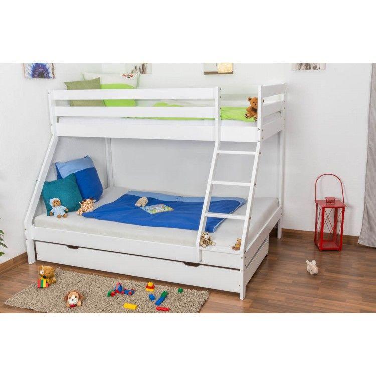 Slatted frames 90×200 triple sleeper bunk bed lukas, solid beech wood, white painted, slatted  frames QZYVPFO