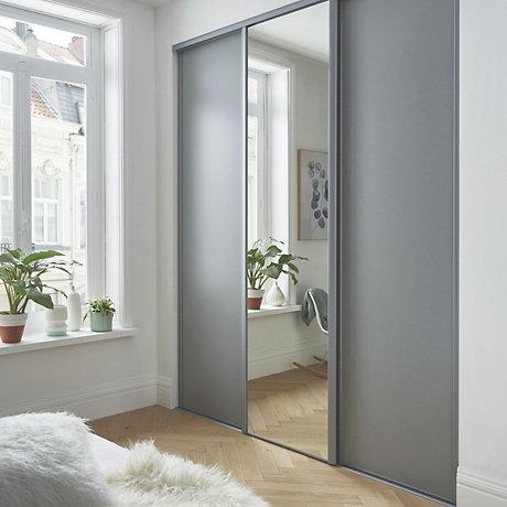 Sliding door wardrobes with mirror single sliding doors POYEEYJ