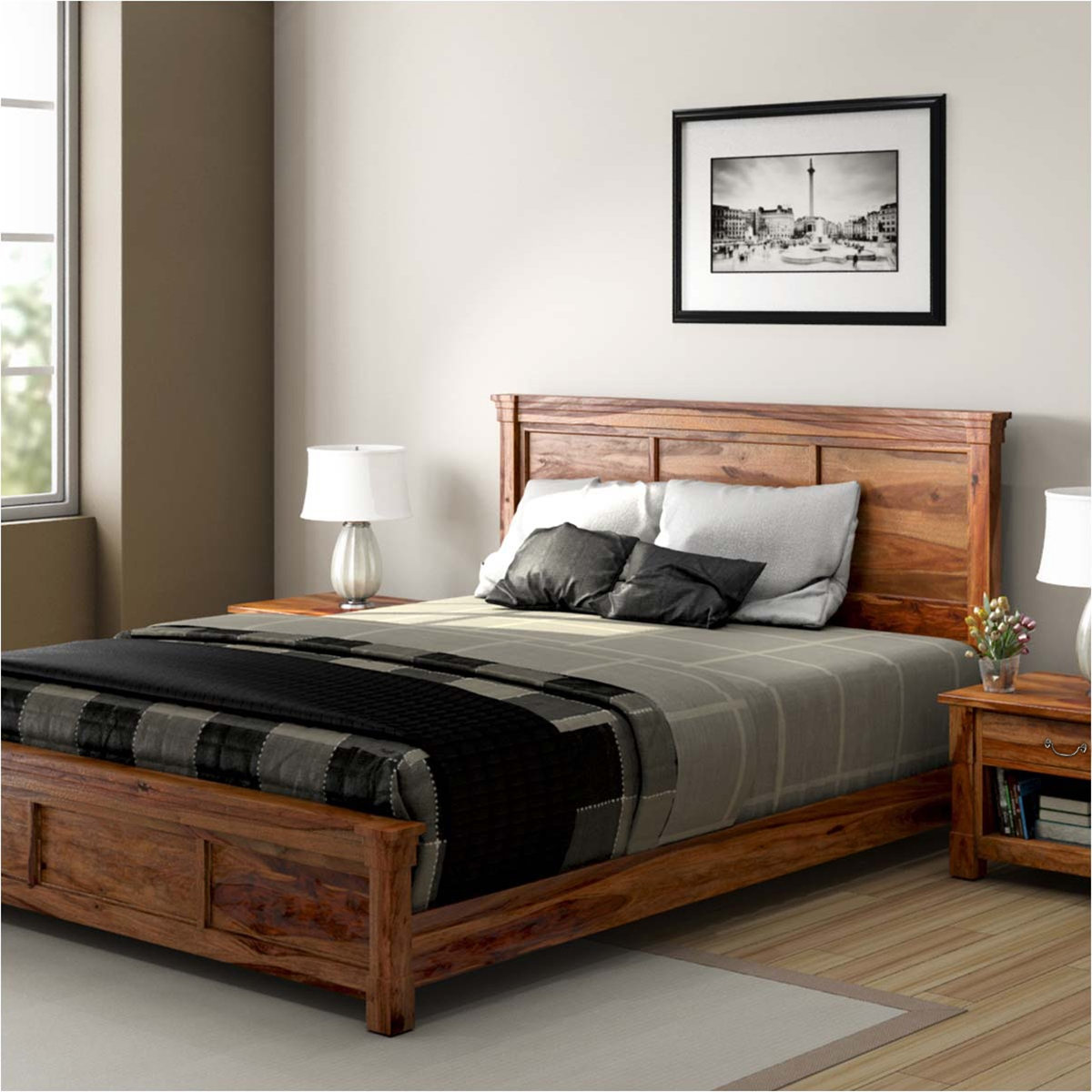 Solid wood beds modern farmhouse rustic solid wood platform bed SSRSWRD