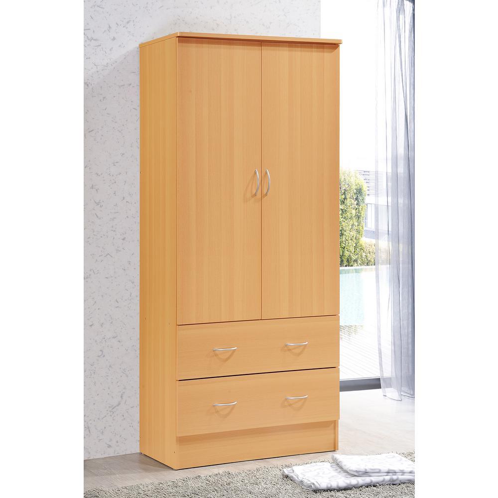 Wardrobes made of beech & core beech hodedah 2-door armoire with 2-drawers in beech TJIOVMS