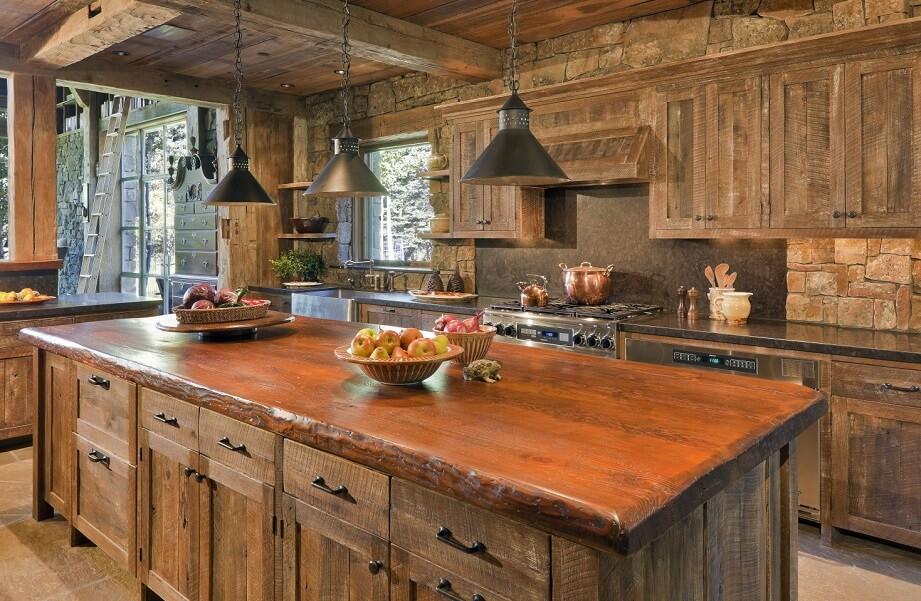 Wood kitchen old wood kitchen island refurnished into modern style VAAMAFG