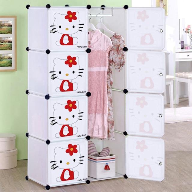 Cartoon child simple wardrobe baby wardrobe folding toy storage